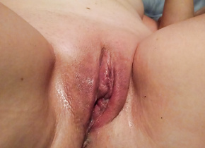 Wife showing off her beloved vibrator