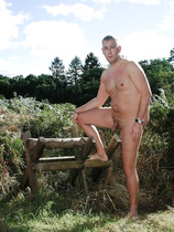 Ian Ford in nature's garb nude outdoors for widening.