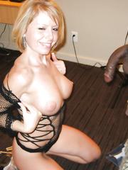 Sexy blondie mounts on big cock | Amateur Interracial Porn