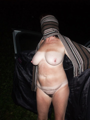 Dogging in the car park - posing naked to attract strangers