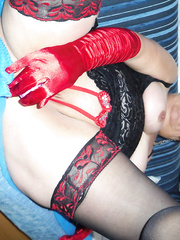 new pics closeup pussy shots wearing red crotchless lingerie