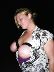 Bound tits on a walk and out to eat with plug in her ass