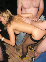 Blonde wife rammed hard at swinger party creampie sex