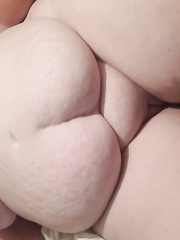 My 54 year old bbw wife showing her shaved puss, big ass and huge tits for you