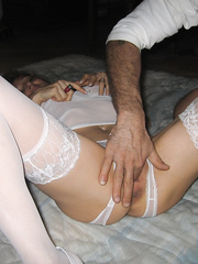 Greedy wife cum slut shared with friends and stuffed with cock and spunk