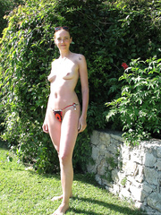 Sneaking some naughty naked pictures outdoors and a quick fuck