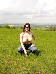 Large boobed wife flashing zeppelins and booty outdoors