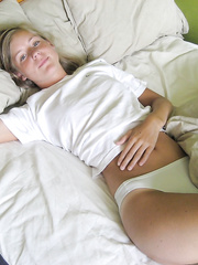 Enchanting golden-haired with diminutive mounds discloses her intimacy part II