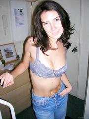 Cute brunette hair wife widens her worthwhile pink twat part II