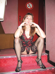 Aged housewife posing in underware and later at swinger club