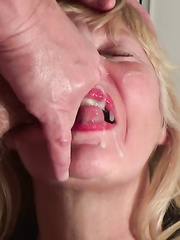 Cum load on matures face and throat