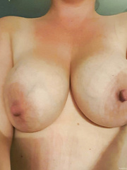 Wife showing off her large love melons and hairless bawdy cleft