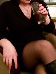 Mrs toodosex4u in a bar wearing taut miniskirt