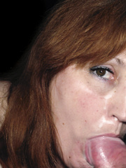 Redhead receives messy with cum and shows her large love bubbles off