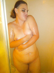 My wife in the shower washing her impure corpulent cum-hole