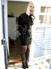 Slut PatsyPVC Bondage Bound and Ballgagged Transvestite Fetish CD in a PVC dress and stockings