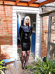PatsyPVC Fetish Transvestite Slut photographed Outdoors by neighbours Clothed in Woman's PVC Costume,strapon Seamed Nylons and 6 inch High Heels