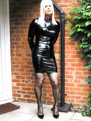 PatsyPVC Sissy Cock Sucking Fetish Anal Slut Maid Transvestite Dressed in a Womens Shiny PVC Skirt, Shiny PVC Suspender belt, Stockings, High Heels Outdoors then indoors as I love cleaning around the rim...