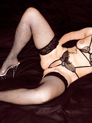 My stunning friend in fisnet stocking playing with her toys