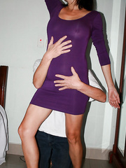 50 year old South African cougar Anna in a purple dress