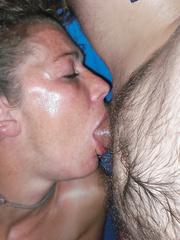 MILF amateur deep throat and self masturbating sweaty sex session