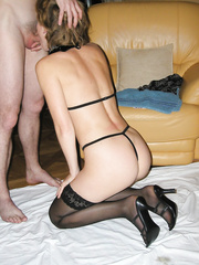 Cuckold amateur wife shared with another man with much bigger penis