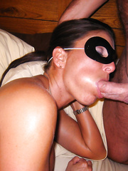Facialized mom splattered with spunk all over her tanned face