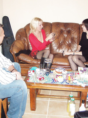 Bisexual wives having fun with partners house at the weekend