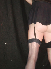 Crossdressing fun playing in my stockings with erection
