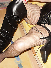 Granny Nathali loves black leather into several fetishes including whi