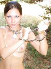 Chained up skinny girlfriend naked in the woods wonder what to do
