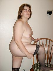 BBW Slut ChristyD Spreads Legs Pussy While Wearing Black Thigh High
