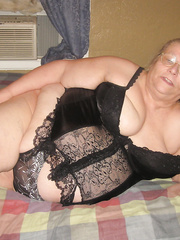 Showing off in my new black outfit sexy lingerie mature bbw