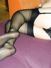 Polish wife does footjob in black stockings nylon likes to use feet