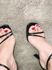Just a few of my sexy feet teasing my slave I jerk he suck toes