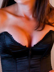 Hot milf is back for more action wearing black revealing lingerie