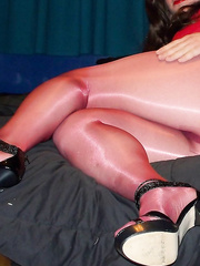Showing off my silky pantyhose getting dick hard and horny