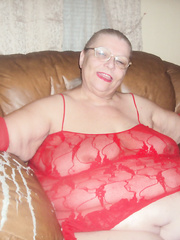 showing off in red lingerie mature amateur bbw