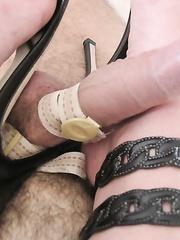 Slave endures CBT foot fetish and high heels