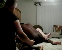 Wife get fucked bareback on their bed! Sissy cuckold Videos