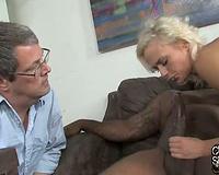 Amateur interracial porn! Cuckold husband eats cum creampie