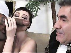 Amateur Interracial sex! Petite white housewife interracial cuckold