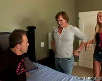 Cuckold husband watches wife sharing-Interracial Porn