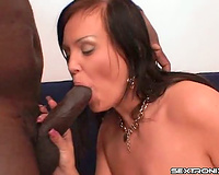 Hot slender playgirl opens wide to engulf a penis