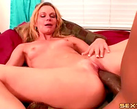 Blonde with honey penis of a dark chap inside her