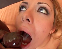 Interracial 3some with 2 cumshots in face hole