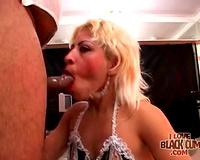 Lace underware on Latina engulfing dark dick