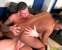 Black bitch with worthy mambos sits on his jock