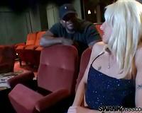 White white women sucks dark jock in the theater