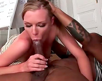 She tries to deepthroat his whole BBC